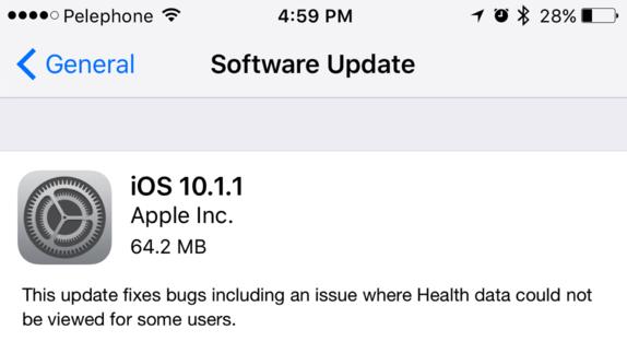 الإصدار الجديد من iOS 10.1.1 سبب القضاء على البطارية